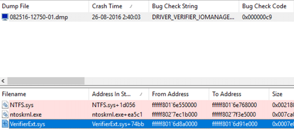 The driver which caused the error will be highlighted