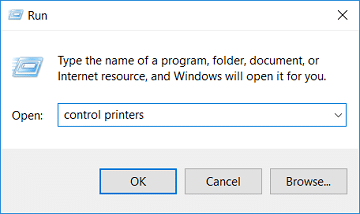 Type control printers in Run and hit Enter