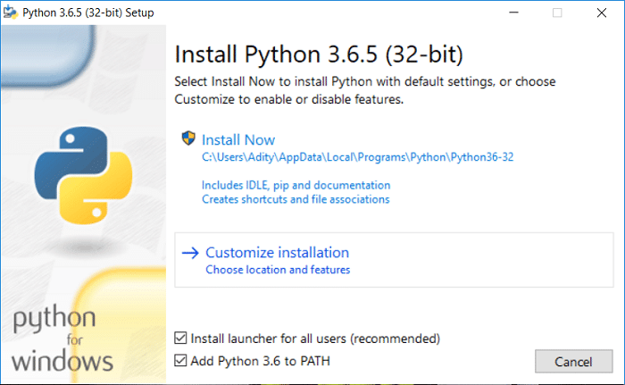 Checkmark 'Add Python 3.6 to PATH' then click on Customize installation