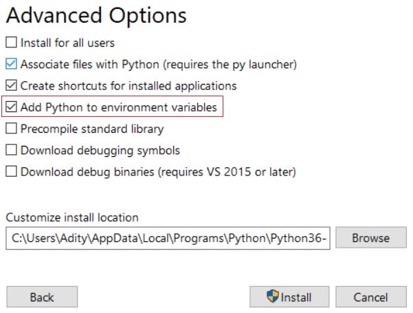 Checkmark Add Python to environment variables and click Install