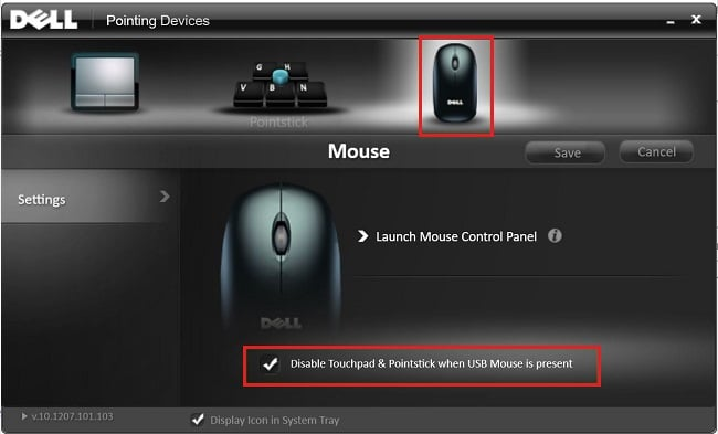 Checkmark Disable Touchpad when USB mouse is present
