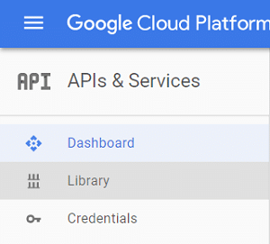 Click on APIs & Services then select Library