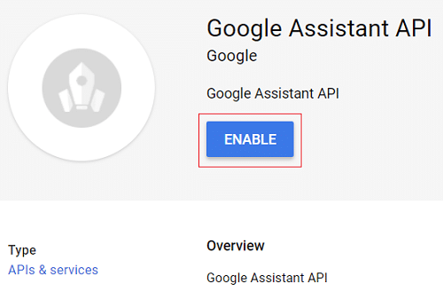 Click on Google Assistant from search result then click on Enable