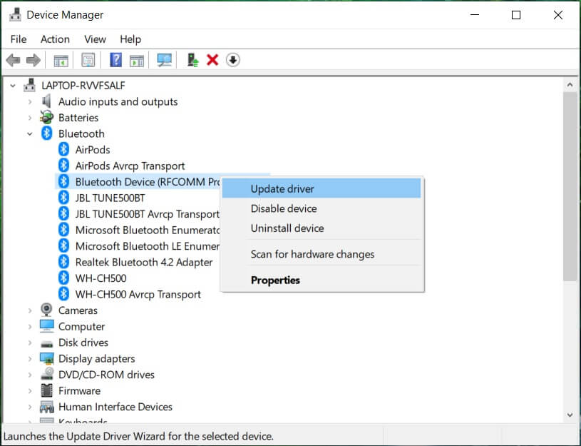 Expand Bluetooth then right-clicks on your device and select Update Driver