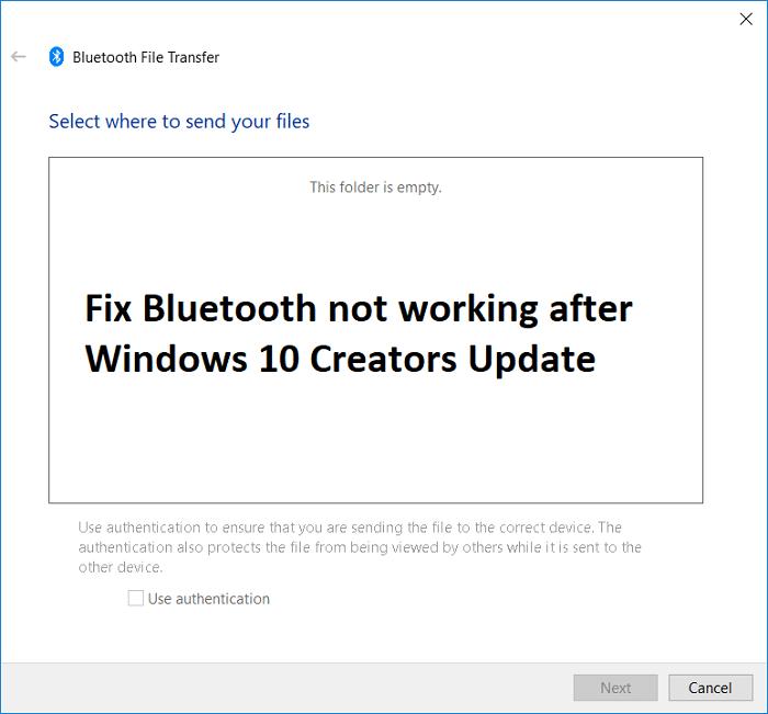 Fix Bluetooth not working after Windows 10 Creators Update