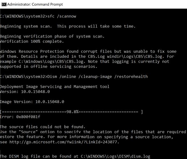 Fix DISM Error 0x800f081f in Windows 10