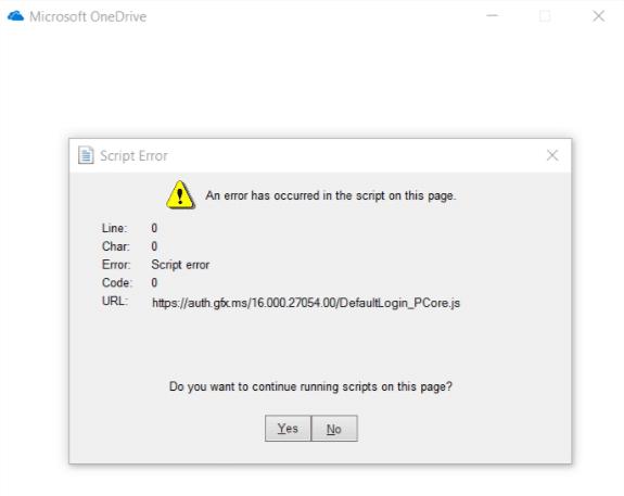 Fix OneDrive Script Error on Windows 10