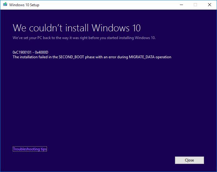 Fix Windows 10 install Fails With Error C1900101-4000D