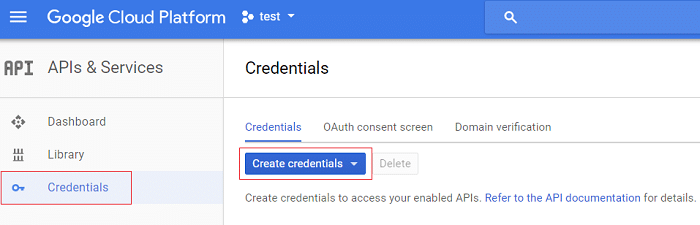 From the left-hand menu click on Credentials then click Createcredentials