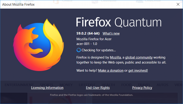 From the menu click on Help then About Firefox