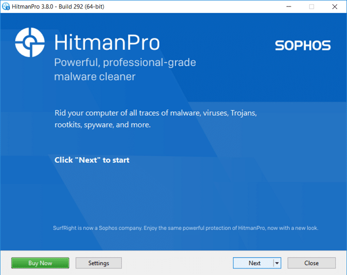 HitmanPro will open, click Next to scan for malicious software