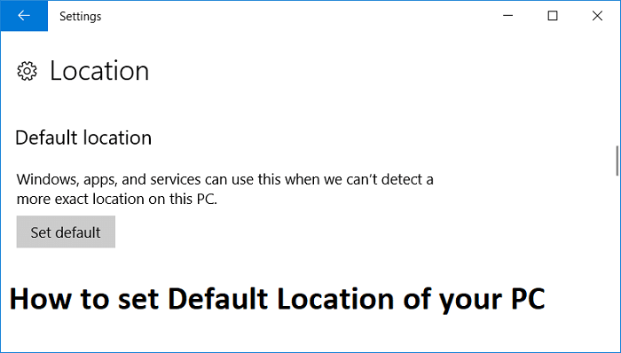How to set Default Location of your PC