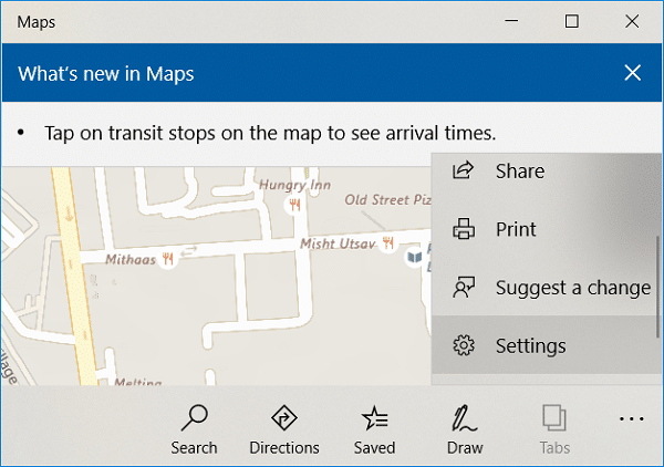 In Maps window click on three dots then click on Settings