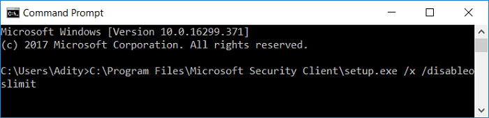 Launch Uninstall window of Microsoft Security Client using Command Prompt