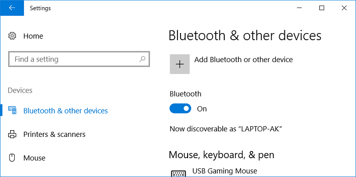 Make sure to Turn ON or enable the toggle for Bluetooth