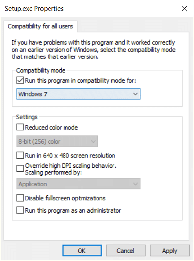 Make sure to checkmark Run this program in compatibility mode for and select Windows 7