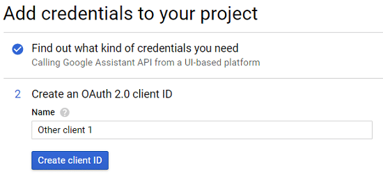Next type the name of the Client ID and click Create Client ID