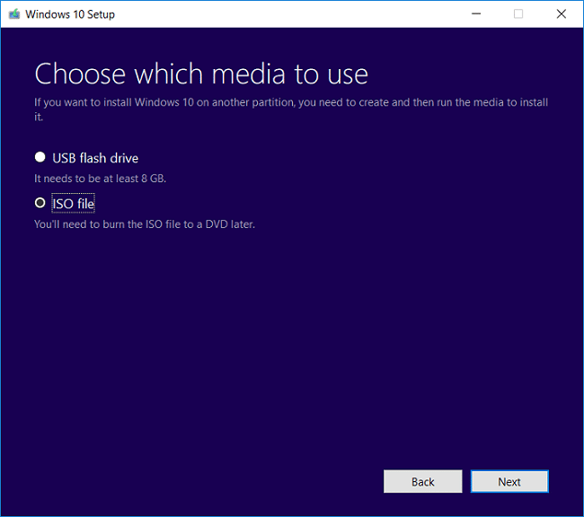 On Choose which media to use screen select ISO file and click Next