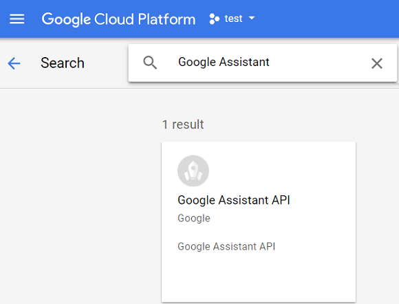 On library page search for Google Assistant in the search console