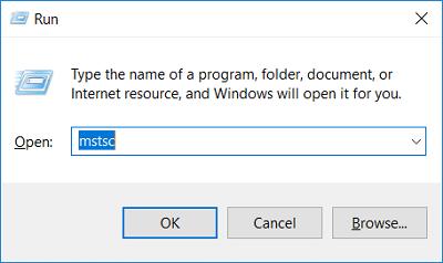 Press Windows Key + R then type mstsc and hit Enter