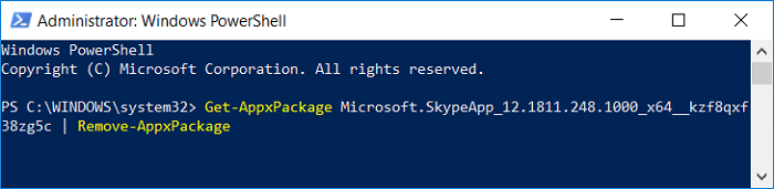 Remove Skype using the following command into powershell Get-AppxPackage PackageFullName | Remove-AppxPackage