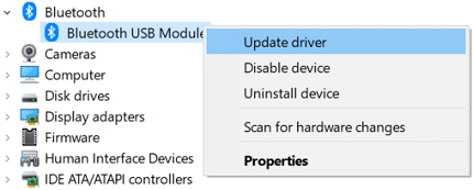 Right-click on Bluetooth device and select Update driver