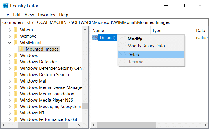 Right-click on Default Registry key and select Delete under Mounted Image registry editor