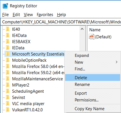 Right-click on Microsoft Security Essentials and select Delete