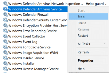 Right-click on Windows Defender Antivirus Service and select Stop