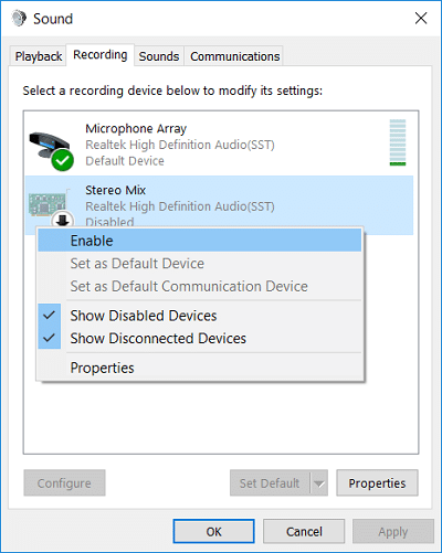 Right-click on the Microphone and select Enable