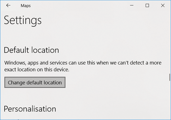 Scroll down to Default location then click on Change default location