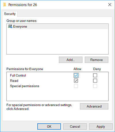 Select EVERYONE then checkmark Full Control (Allow)