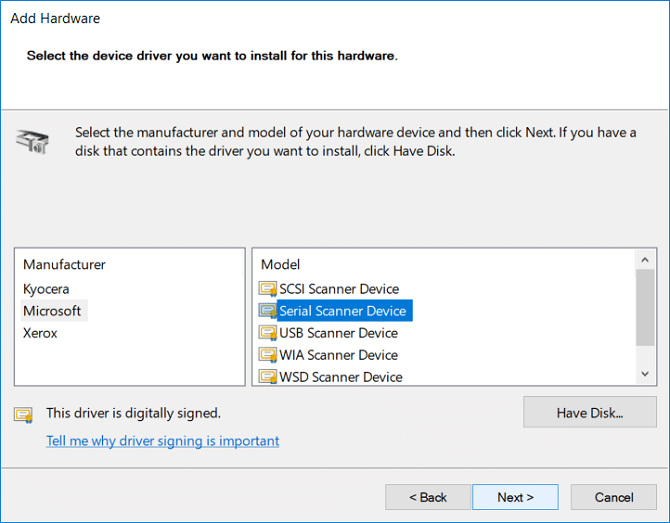 Select the Manufacturer then select device Model and click Next