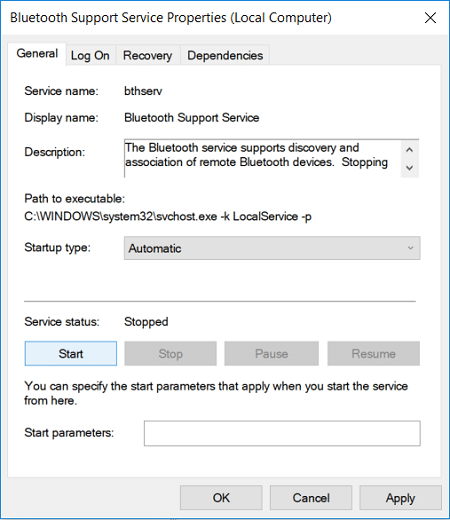 Set the Startup type to Automatic for Bluetooth Support Service | Fix Bluetooth not working after Windows 10 Creators Update
