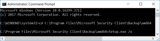 Type Setup.exe /X once you cd the directory of MSE