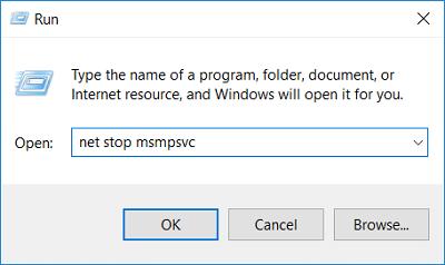 Type net stop msmpsvc in run dialouge box