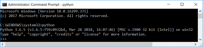 Type python in command prompt and it should return the python version installed on your PC