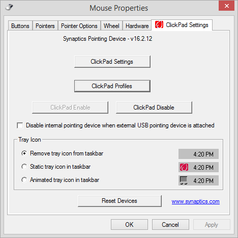 Uncheck Disable internal pointing device when external USB pointing device is attached