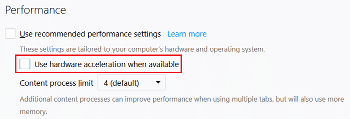 Uncheck Use hardware acceleration when available under Performance