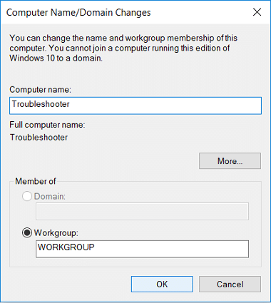 Under Computer Name make sure to use a name which has no periods or hyphens or dashes