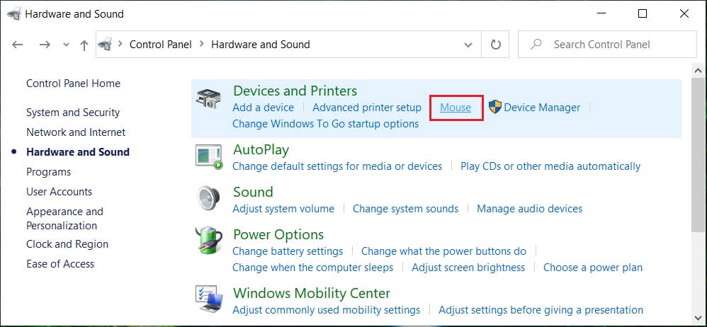 Under Devices and Printers click on Mouse