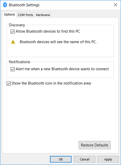 Under More Bluetooth Option checkmark Allow Bluetooth devices to find this PC