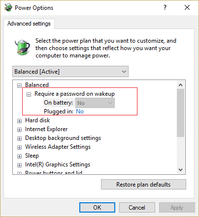 Under Require a password on wakeup setting then set it to No