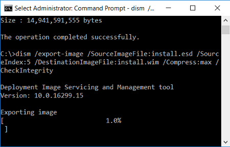 extract install.wim from install.esd in command prompt