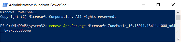 remove-AppxPackage PackageFullName