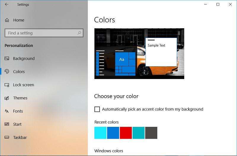 Change Color of Start Menu, Taskbar, Action Center, and Title bar in Windows 10
