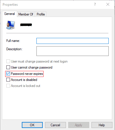 Checkmark Password never expires box | Enable or Disable Password Expiration in Windows 10