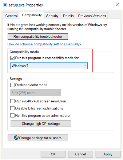 Checkmark Run this program in compatibility mode for then select your previous Windows version