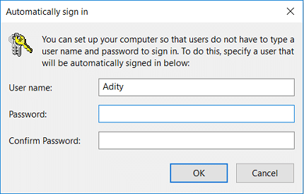 Click Apply to see the Automatically Sign in dialog box