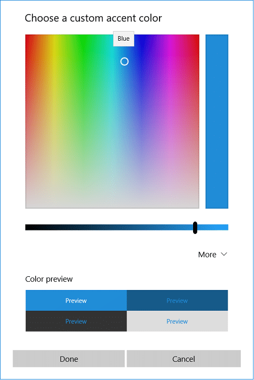 Click on Custom color then drag & drop the white circle on the color you like and click done